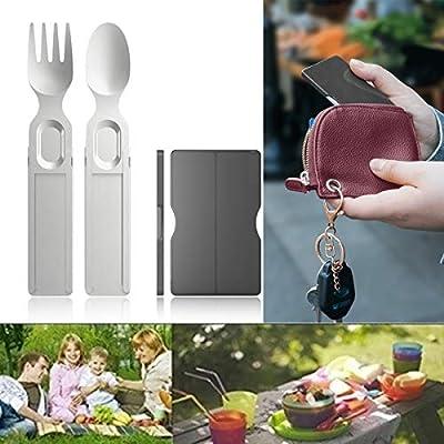 Telescopic Tableware Fork Spoon Set - Wallet-Si...