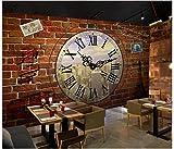 Apoart 3D Papel Pintado Pared Del Fondo De La Cafetería De La Barra De La Pared De Ladrillo Del Reloj Del Viento Industrial Del Vintage400X280Cm(157.48By110.23In)