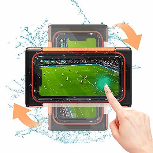 Vesmatity Soporte de pared para teléfono de ducha, resistente al agua, antivaho, pantalla táctil, para baño, cocina, bañera, compatible con teléfonos inferiores a 6.8 pulgadas (negro)