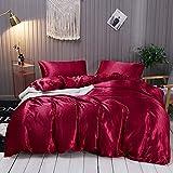 Omela Bettwäsche Satin 135x200 Weinrot Einfarbig Glatt Glänzend Bettbezug mit Reißverschluss 2 Teilig 100% Glanzsatin Polyester Sommerbettwäsche Set Kissenbezug 80x80 cm
