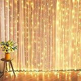 Cortina luminosa de 600 LED de talla ancha, impermeable, luces de Navidad, exterior, cascada, cortina de luces de Navidad, con 8 programas de luz para interior y exterior, salón de tamaño grande