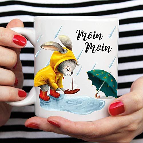 Beker Bedrukte Koffiemok Bunny Regenjas Paraplu Regen Kinderbeker