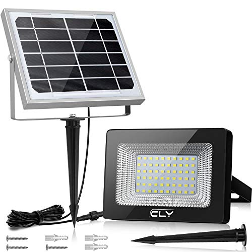 Foco Solar CLY 60 LED Luz Solar Lámpara Solar Exterior 60 LED con Batería 4000mAh Panel Solar ENCENDIDO/APAGADO Automáticamente IP66 Impermeable, Lámpara Solar para Jardín, Calle y Garaje