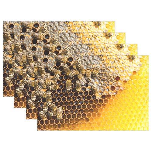 Juego de 6 manteles individuales de panal con abejas, resistentes al calor, lavable, resistente a las manchas, antideslizante, de poliéster, para decoración de cocina, comedor