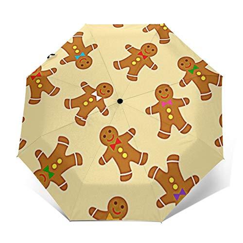 Regenschirm Taschenschirm Kompakter Falt-Regenschirm, Winddichter, Auf-Zu-Automatik, Verstärktes Dach, Ergonomischer Griff, Schirm-Tasche, Brot Lebkuchen