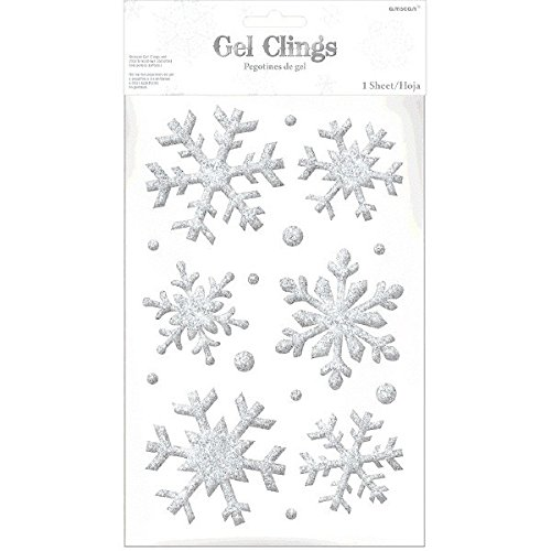 amscan Snowflake Glitter Gel Cling, 16 Ct. | Christmas Decoration