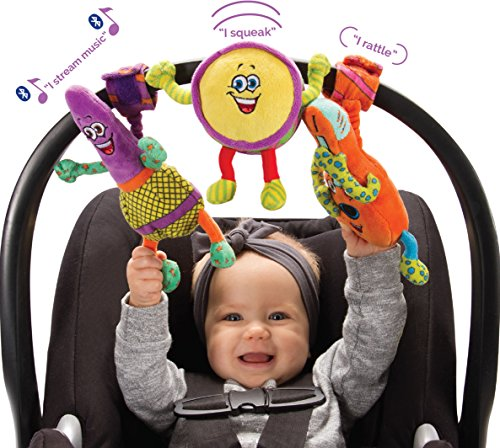 Lil' Jammerz Baby Music Toys for Car Seat or Stroller: Includes a Bluetooth Speaker, Downloadable App That Streams Music or White Noise, and Plush Rattle & Squeaky Toy