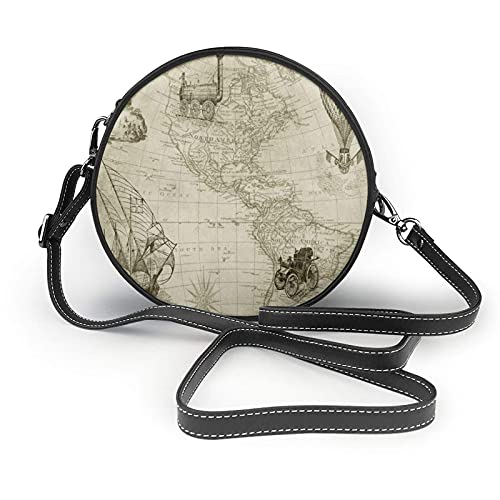 AKERCY-CASE Borsone da donna vintage World Map Travel Circle Canteen Purse in microfibra