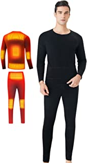 BJ&HH Electric Heating Thermal Underwear USB Heated Underwear for Men Women Winter Warm Lining Long Sleeve Top and Pants Set