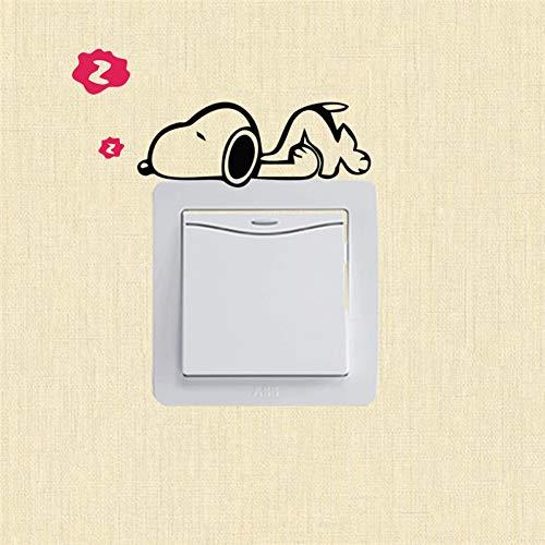 YCEOT Etiqueta de la pared Perro lindo Dormir Interruptor Pegatinas Outlets Decoraciones Bricolaje Animales de Dibujos Animados de Pared Tatuajes de Vinilo Sala de estar Decoración Cachorro Arte Mural