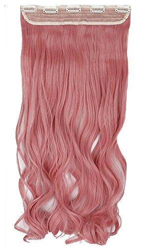 24'(60cm) Extensiones de Cabello Clip Pelo Sintético Se Ve Natural Una Pieza 3/4 Cabeza Completa Postizos Pelucas para Mujer Rizadas Onduladas (120g,Rosa Ceniza)