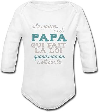 Papa Fait La Loi /À La Maison Body B/éb/é Bio Manches Longues