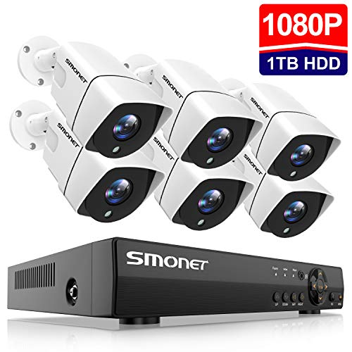 SMONET 1080P Security Camera System,8-Channel Outdoor/Indoor Surveillance System(1TB Hard...