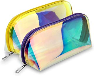 Holographic Makeup Bag, BuyAgain 2 Pack Fashion Iridescent Cosmetic Bag for Girls Women Purple Gold