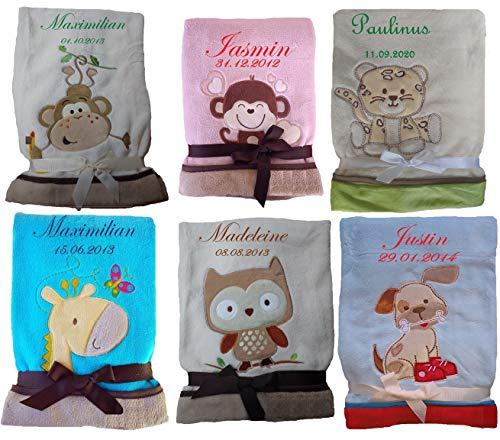 Babydecke Motiv Eule, Hund, Affe, Giraffe, Leopard mit Namen bestickt Geschenk Baby Taufe Geburt (beige Affe)