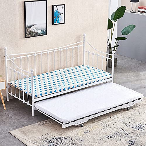 HUIJK White Pull Out Trundle Bed Two Single Beds in One Home Office Bedroom Livingroom