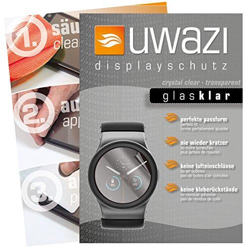 uwazi I 5X Glas-klare Schutzfolie für Uhr 38 mm Durchmesser Displayschutzfolie I Folie I Anti Fingerabdruck I Anti Kratzer