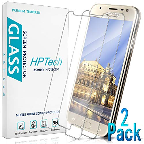 HPTech Galaxy J3 2017 Screen Protector - (Japan Tempered Glass) Film for Samsung Galaxy J3 2017, Easy to Install, Bubble Free, 9H Hardness, 2-Pack