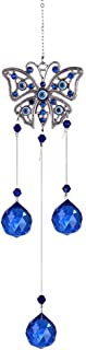 LONGSHENG - SINCE 2001 - Turkish Blue Evil Eye Butterfly Wall Hanging with Crystal Suncatcher Ornament for Home Decor Prot...