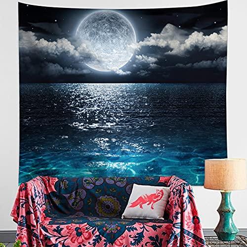 Tapiz de pared Walenbily Luna Cielo Decoración de Pared Decoración de Pared para Habitación Decoración Toalla de Playa (Agua Azul, Luna, 150 x 200 cm)