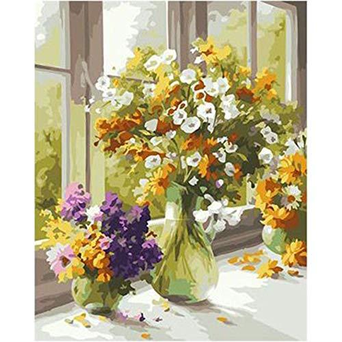 Srood Adult Farbe nach Zahlen für Erwachsene Anfänger Weihnachtsdekoration Dekorationen Gelbe Chrysantheme vor dem Fenster Muster Leichtigkeit Bild nach Zahlen Geburtstagsgeschenk 40X50cm ungerahmt