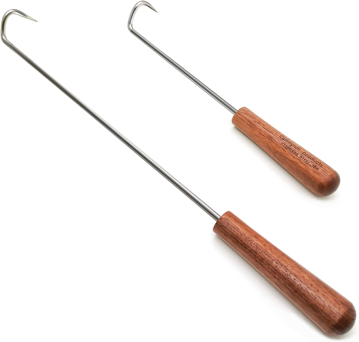 Callmynm 304 Stainless Steel Food Flipper & Turner Hooks - Large + Small Barbecue & Cooking Turners - Pigtail Meat Hook with Wooden Handle for Grilling & Smoking