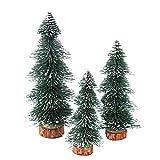 SUPVOX 3 Piezas Mini pinos Escarcha árboles Botella Cepillo árboles Miniatura Pino Mini árbol de Navidad con Base de Madera Adornos navideños