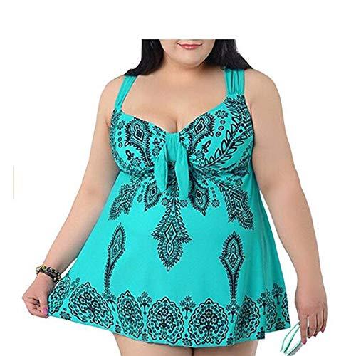 Divgdovg Damen Retro Rückenfrei Tankini Große Größen, Strandkleid Zweiteiliger Badeanzüge Bikini Mit Hotpants,Grün,64(95-105kg)