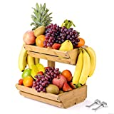 Bamboo Fruit Basket Holder Vegetable Storage Stand, 2 Tier Standing Basket Organizer with 2 Banana Hooks for Kitchen, Home, Office, Dining Room, Supply Room and Guest Room