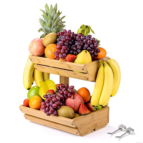 Sunix Bamboo Fruit Basket Holder Vegetable Storage Stand, 2 Tier Standing Basket Organizer with 2 Banana Hooks for Kitchen, Home, Office, Dining Room, Supply Room and Guest Room