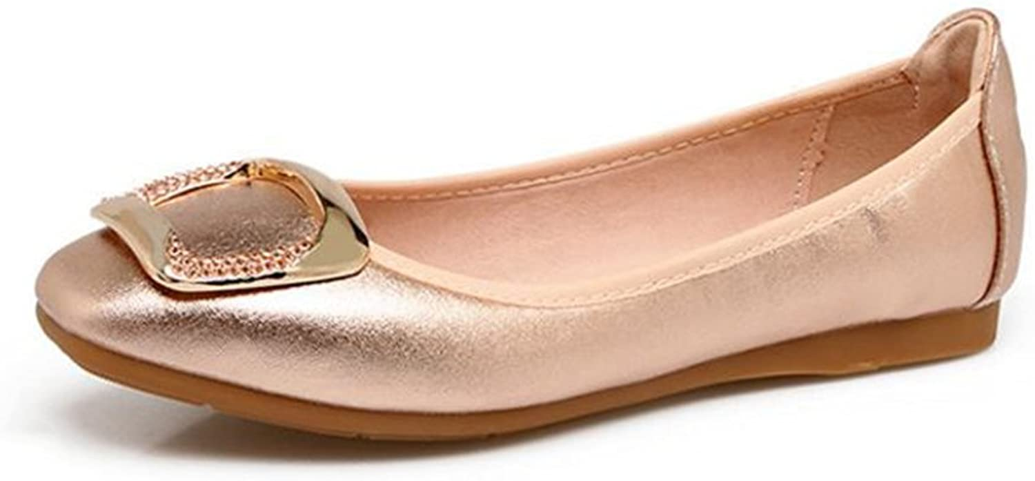 pink town Womens Foldable Square Buckle Slip-On Ballet Flats Dress shoes