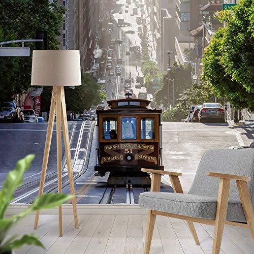 Fotobehang Tram in San Francisco 192 x 260 cm (bxh) | Hoogwaardige Kwaliteit Vliesbehang | Eenvoudig te Plakken