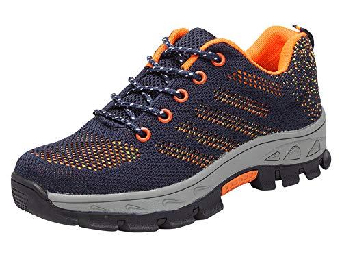 Santimon Sicherheitsschuhe Herren Anti-Rutsch Arbeitsschuhe Leichtgewicht Atmungsaktiv Draussen Stahlkappen Schuhe Blau 44 EU