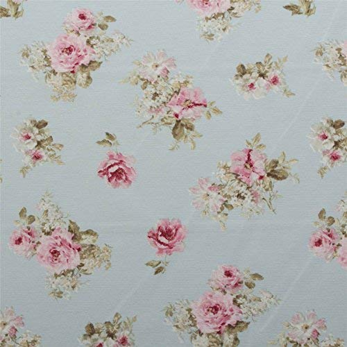 Duck Egg Vintage Chintz Floral Print Retro Shabby 100% Cotton Curtain Upholstery Fabric