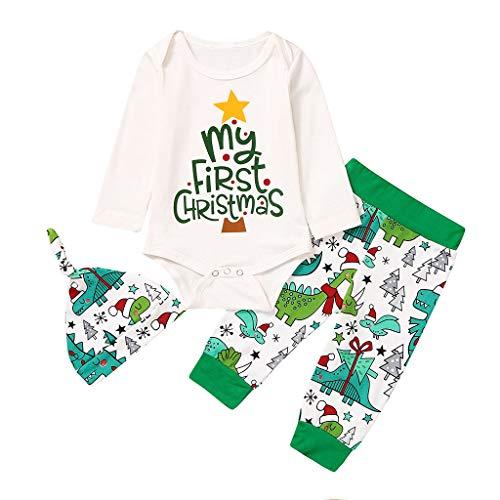 Cuteelf Baby Langarm Weihnachten Brief Drucken Harbin Pack Fartsuit + Cartoon Print Pants + Hat dreiteilige Set Weihnachten Briefe Overall Cartoon Hosen Hut Kostüm