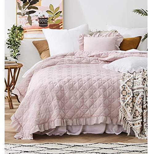 JEMIDI Tagesdecke 200cm x 220cm Bettüberwurf Bettüberwurf Sofaüberwurf Bett Decke gesteppt Tages Tagesdecken Betthusse (Altrose Rüschen)
