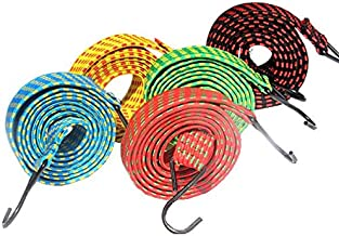 Bambble 25 mm Multipurpose Ultra Flexible Rectangle Shaped Bungee Motorcycle Bike Luggage Elastic Strap/Rope with Metal ABS Hook 6 ft Multicolored - Set of 2