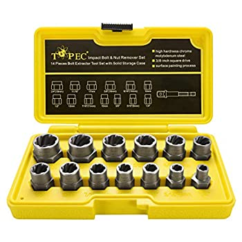 Topec Impact Bolt & Nut Remover Set 13+1 Pieces ⅜drive impact Nut Extractor Socket Bolt Remover Tool Set with Hex Adapter for Removing Damaged Dead Rusted Rounded-Off Bolts Nuts & Screws