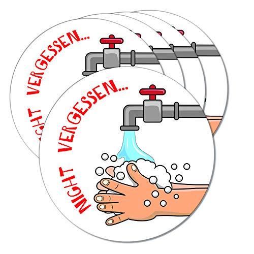 Logbuch-Verlag 5 Händewaschen Nicht Vergessen Schilder für Türe oder Wand rund 10 cm - Bitte Hände Waschen Wandschild Symbol Schule Kindergarten Firma
