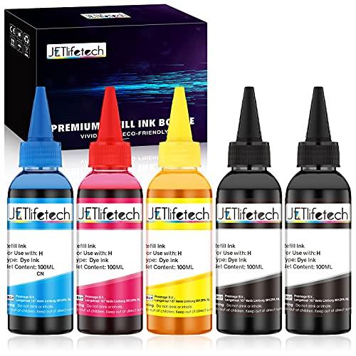 JETlifetech 4 Colori Universale Kit ricarica inchiostro per HP Riempibile Cartucce e CISS sistemi, 100 ml di inchiostro/bottiglia di tintura, 5 bottiglie (2 nero / 1 ciano / 1 magenta / 1 giallo)