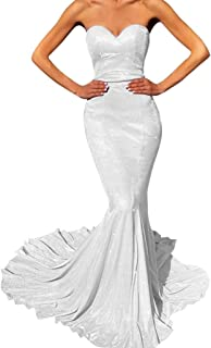 Jonlyc Glittery Sweetheart Mermaid Long Prom Bridesmaid Dress Formal Evening Gowns