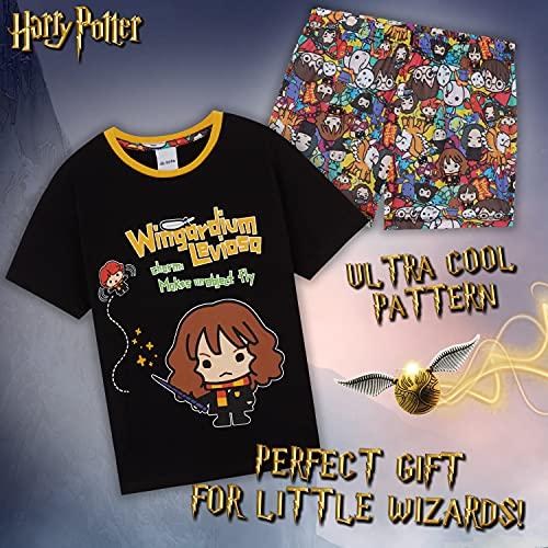 HARRY POTTER Pijamas Niña, Conjunto Pijama De Manga Corta De Hermione Granger, Pijamas Originales De Algodon, Regalos para Niñas Y Adolescentes De 7-14 Años (Negro, 9-10 años, 9_Years)