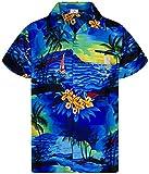 King Kameha Funky Casual Camisa hawaiana para hombre, bolsillo delantero, con botones, manga corta, unisex, estampado de surf, manga corta - Azul - Small
