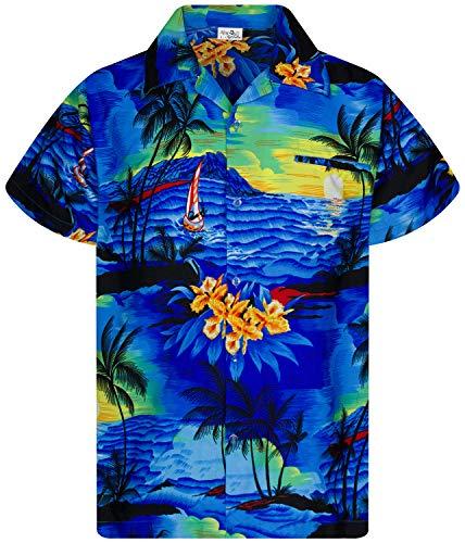 King Kameha Funky Hawaiihemd, Kurzarm, Print Surf, Blau, 4XL
