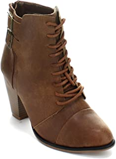 Forever Camila-63 Womens Chunky Heel Adjustable Buckle Lace Up Ankle Booties