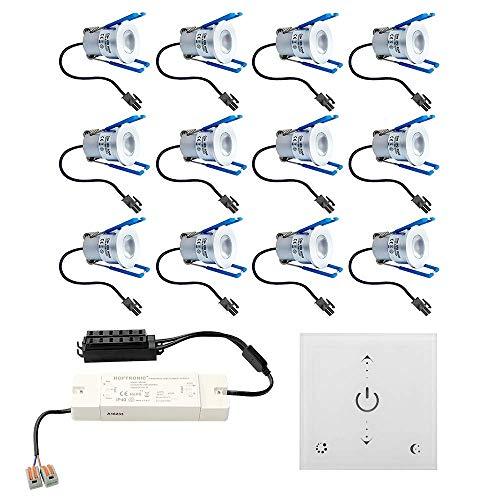 Foco LED empotrable Malaga 12 x 3 W, regulable, IP65, resistente a salpicaduras, incluye regulador de pared y mando a distancia