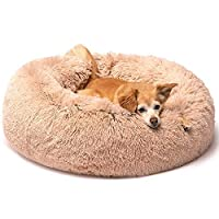 大きな犬のベッド、犬の枕、犬の箱のマット 猫のゴミ、丸い豪華な深い睡眠犬小屋 (Color : Brown, Size : Outer diameter 100CM)