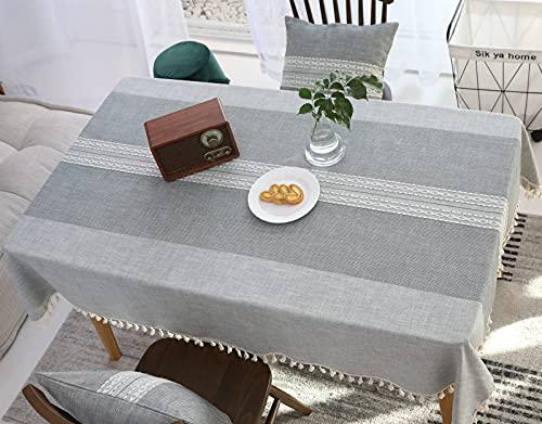 VIVILINEN Mantel Rectángulo Mantel de Lino de algodón, Borla de Costura Cuadrada Diseño Manteles rectangulares Manteles Lavables para Mesa de Comedor de Cocina (Gris, 140x240cm)