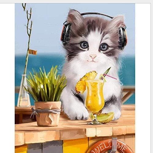kpeto Lindo gato auriculares 5D pintura de diamante kit de taladro completo DIY bordado redondo Rhinestone dibujo mosaico punto de cruz hogar sala decoración regalo 40x50cm