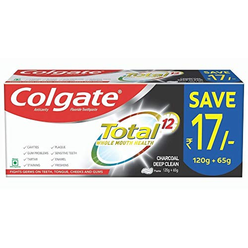 Colgate Total Anticavity Fluoride Toothpaste, Charcoal Deep Clean, 185g (120g + 65g)